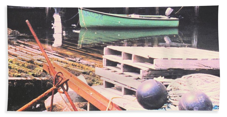 Green Bath Towel featuring the photograph Green Boat by Ian MacDonald
