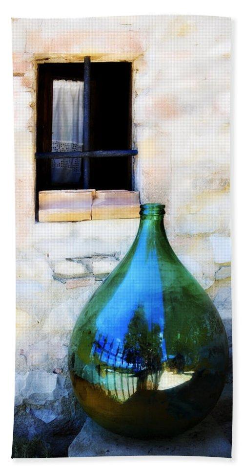 Bottle Bath Sheet featuring the photograph Green Bottle Italian Window by Marilyn Hunt
