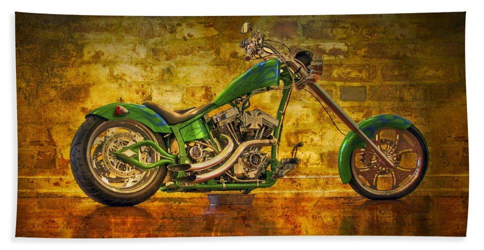 2-wheeler Bath Sheet featuring the photograph Green Chopper by Debra and Dave Vanderlaan