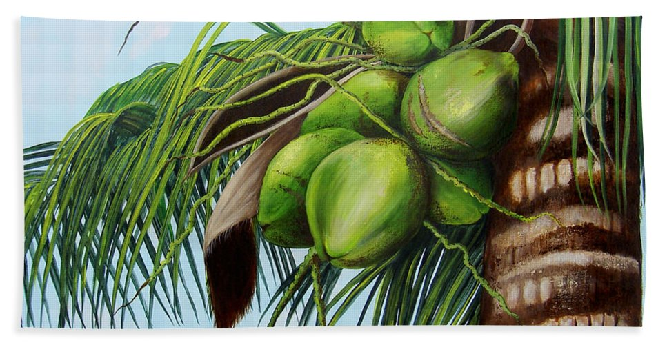 Coconuts Hand Towel featuring the painting Green Coconuts- 01 by Dominica Alcantara