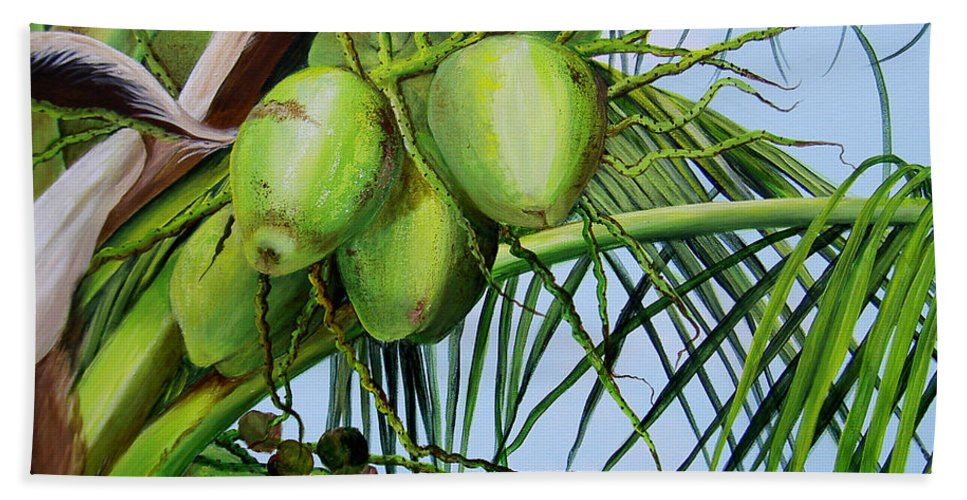 Greencoconuts Hand Towel featuring the painting Green Coconuts-02 by Dominica Alcantara