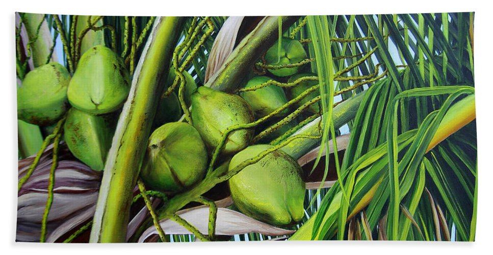 Coconuts Hand Towel featuring the painting Green Coconuts- 03 by Dominica Alcantara