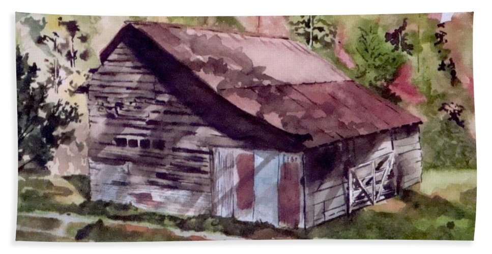 Barns Bath Towel featuring the painting Green Creek Barn by Jean Blackmer