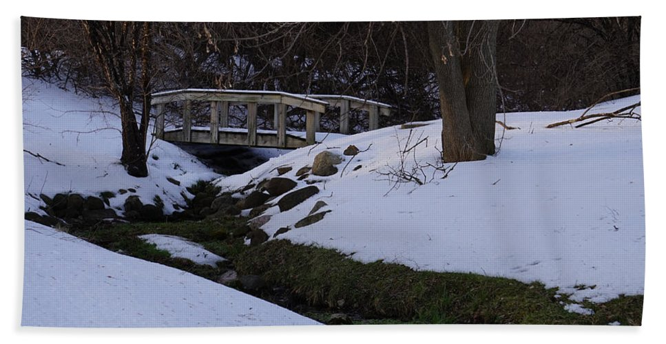 Snow Hand Towel featuring the photograph Green Creek by Brooke Bowdren