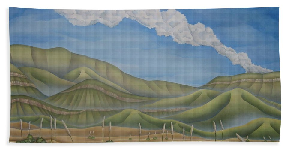 Landscape Hand Towel featuring the painting Green Desert by Jeniffer Stapher-Thomas