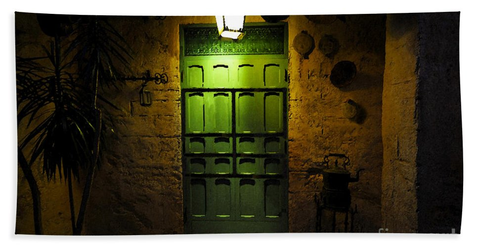 Doorway Bath Sheet featuring the painting Green Door by David Lee Thompson