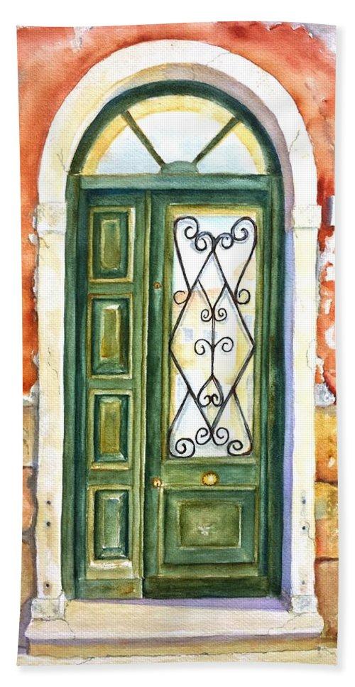 Door Bath Sheet featuring the painting Green Door In Venice Italy by Carlin Blahnik CarlinArtWatercolor