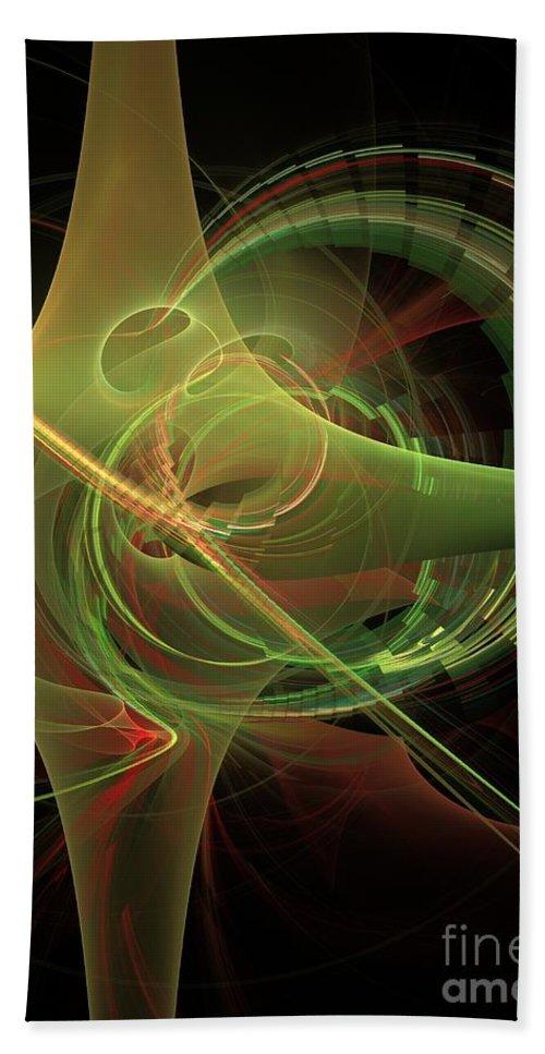 Hand Towel featuring the digital art Green Energy Tunnel by Deborah Benoit