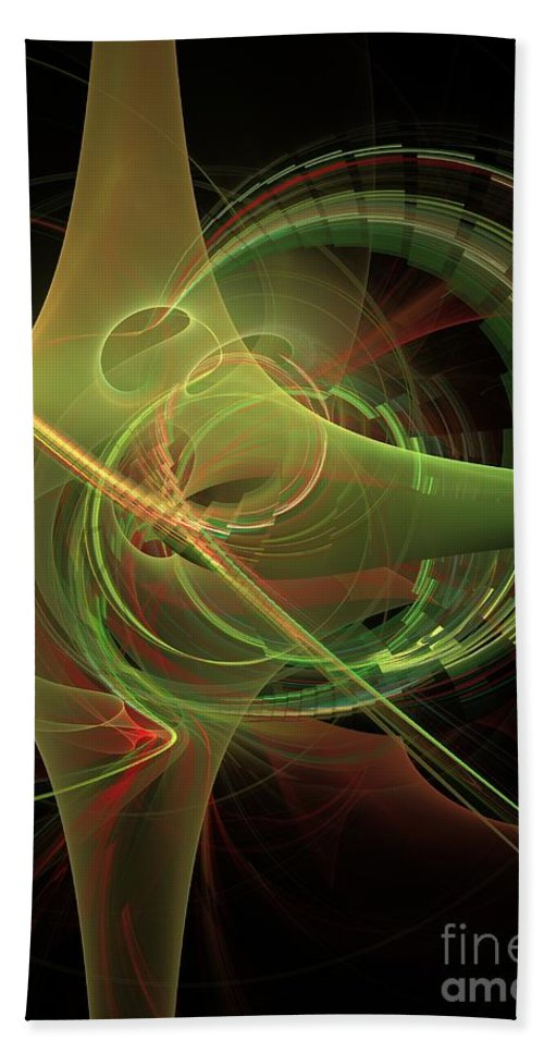Bath Towel featuring the digital art Green Energy Tunnel by Deborah Benoit