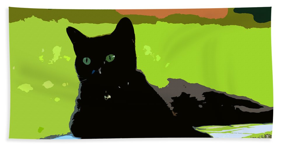 Cat Bath Towel featuring the painting Green Eyes by David Lee Thompson