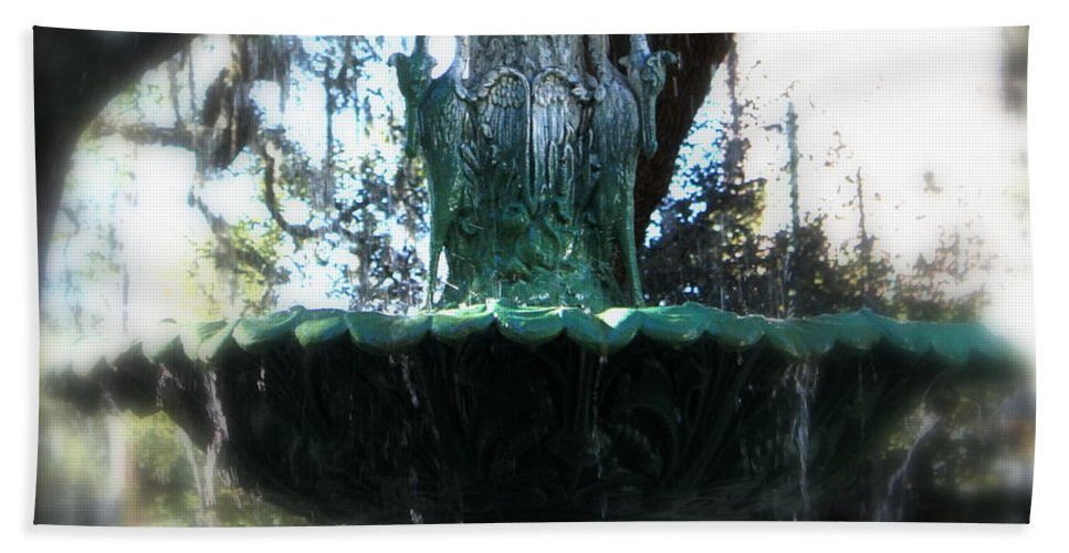 Savannah Bath Towel featuring the photograph Green Fountain by Carol Groenen