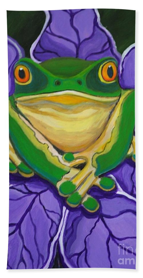Frog Painting Hand Towel featuring the painting Green Frog by Nick Gustafson