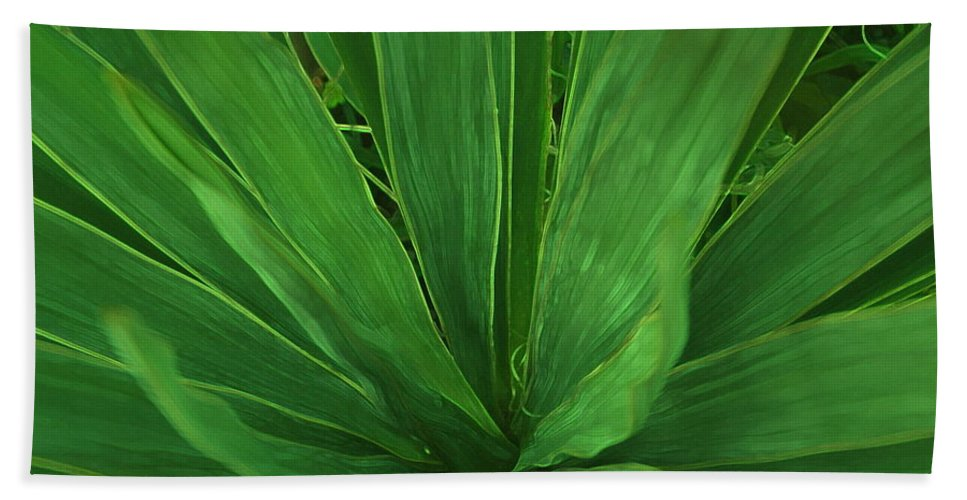 Green Plant Bath Towel featuring the photograph Green Glow by Linda Sannuti