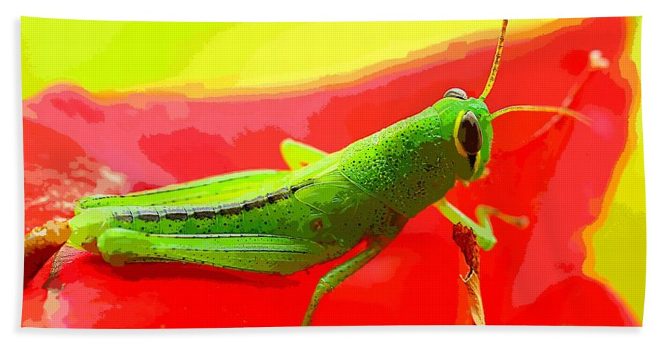 Art Bath Sheet featuring the painting Green Grasshopper by MJ Arts Collection