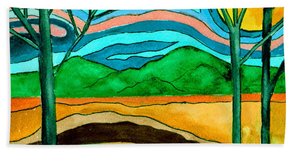Watercolor Hand Towel featuring the painting Green Hill Country by Brenda Owen