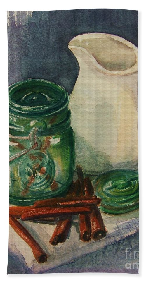 Still Life Bath Sheet featuring the painting Green Jar by Marilyn Smith