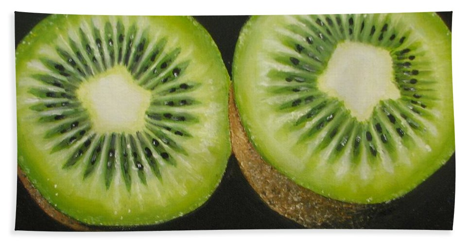 Kiwi Bath Sheet featuring the painting Green Kiwi Oil Painting by Natalja Picugina