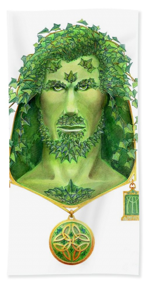 Green Man Hand Towel featuring the painting Ivy Green Man by Melissa A Benson