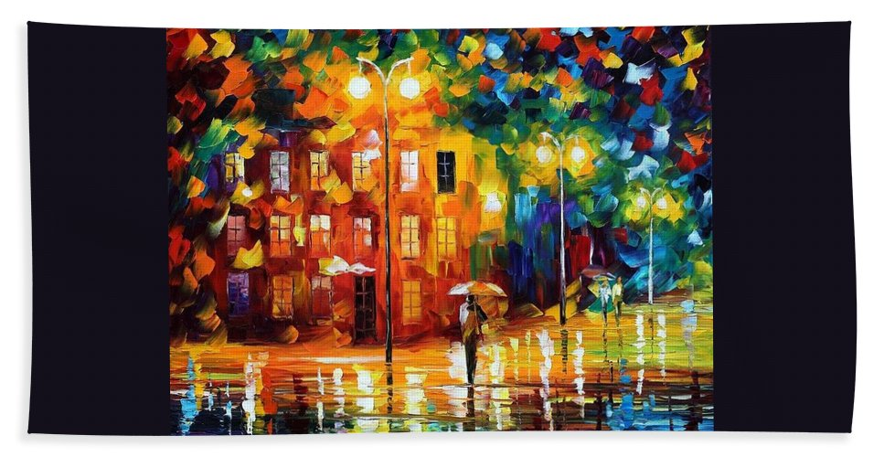 Afremov Hand Towel featuring the painting Green Mood by Leonid Afremov