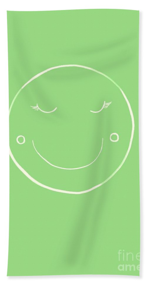 Moon Bath Towel featuring the painting Green Moon by Sweeping Girl