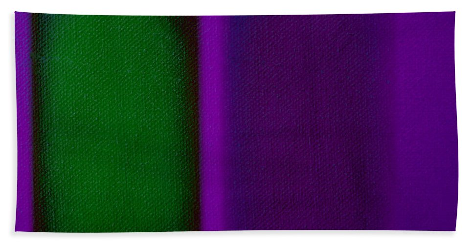 Rothko Bath Towel featuring the painting Green On Magenta by Charles Stuart