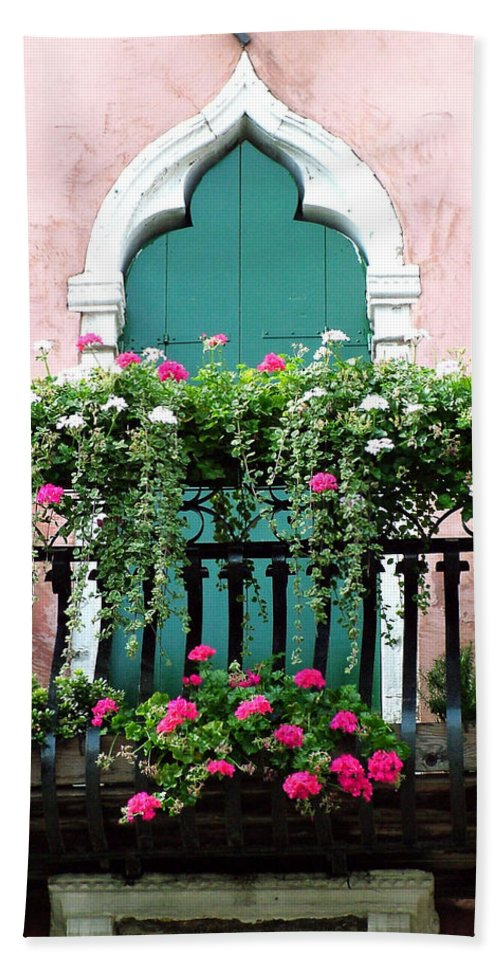 Green Bath Towel featuring the photograph Green Ornate Door With Geraniums by Donna Corless