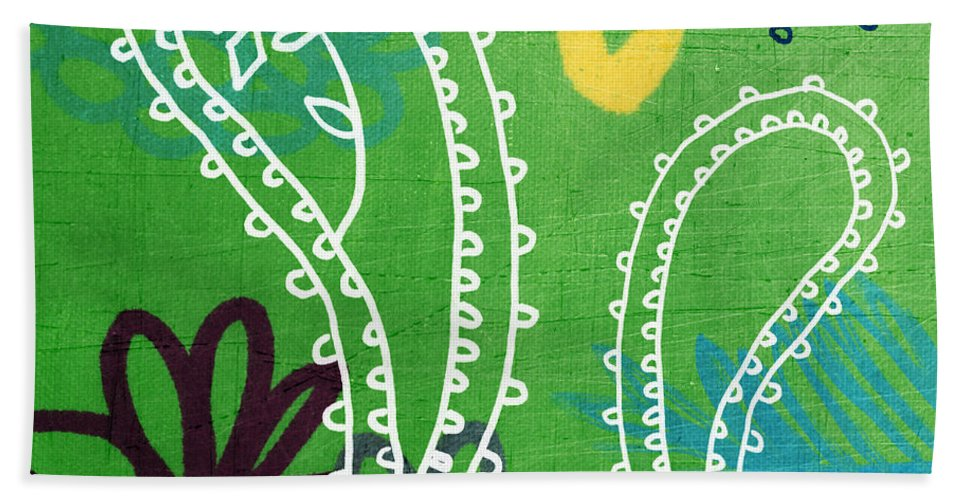 Paisley Bath Sheet featuring the painting Green Paisley Garden by Linda Woods