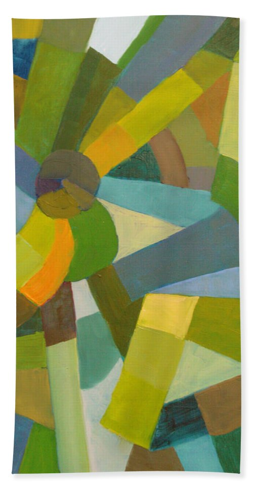 Green Bath Towel featuring the painting Green Pallette by Art Nomad Sandra Hansen
