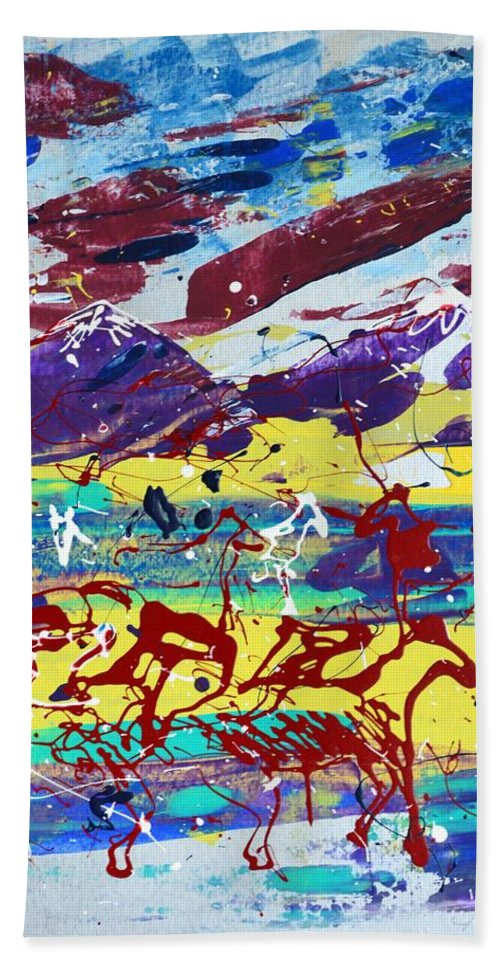 Horses Grazing Bath Towel featuring the painting Green Pastures And Purple Mountains by J R Seymour
