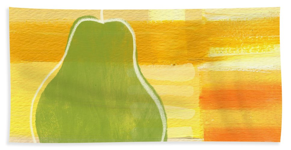 Pear Bath Towel featuring the painting Green Pear- Art By Linda Woods by Linda Woods