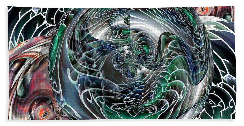 Green Hand Towel featuring the digital art Green Planet by Ron Bissett