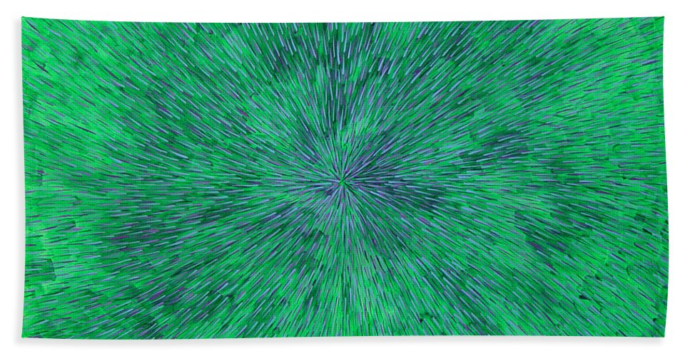 Abstract Hand Towel featuring the painting Green Radation With Violet by Dean Triolo