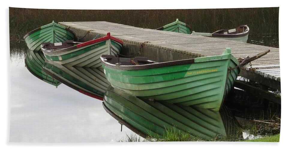 Boat Bath Sheet featuring the photograph Green Reflection by Maryellen Feeney