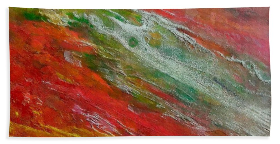 Abstract River Hand Towel featuring the painting Green River by Dragica Micki Fortuna