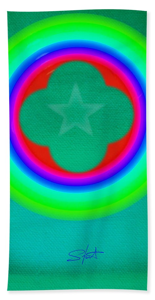 Abstract Hand Towel featuring the painting Green See by Charles Stuart