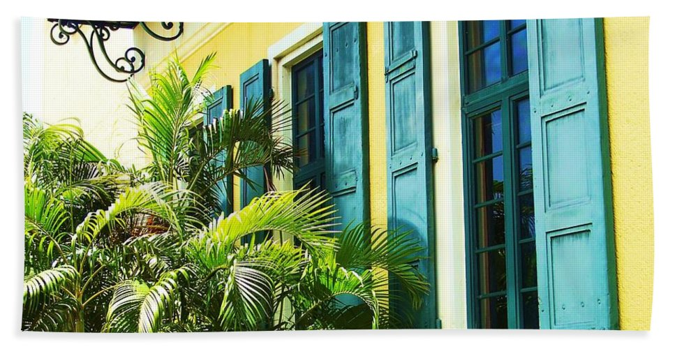 Architecture Bath Towel featuring the photograph Green Shutters by Debbi Granruth