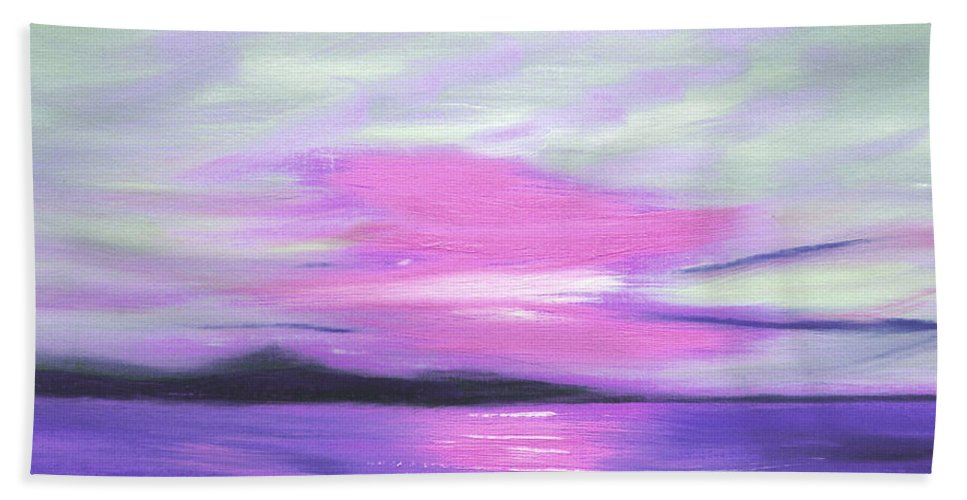 Green Hand Towel featuring the painting Green Skies And Purple Seas Sunset by Gina De Gorna