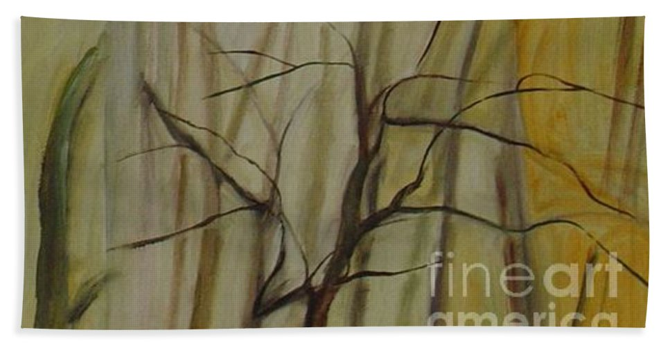 Spring Young Trees Saplings Trees Bath Towel featuring the painting Green Sonnet by Leila Atkinson