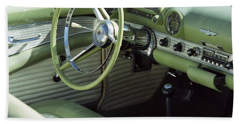 Photography Bath Towel featuring the photograph Green Thunderbird Wheel And Front Seat by Heather Kirk