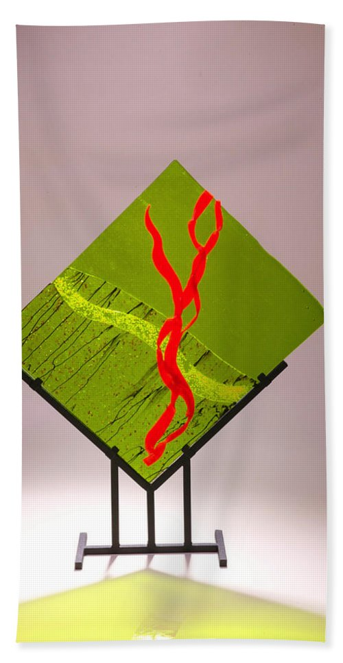 Fused Art Glass Hand Towel featuring the photograph Green Touch by Mykel Davis