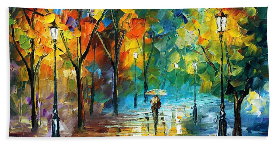 Landscape Bath Sheet featuring the painting Green Tree by Leonid Afremov
