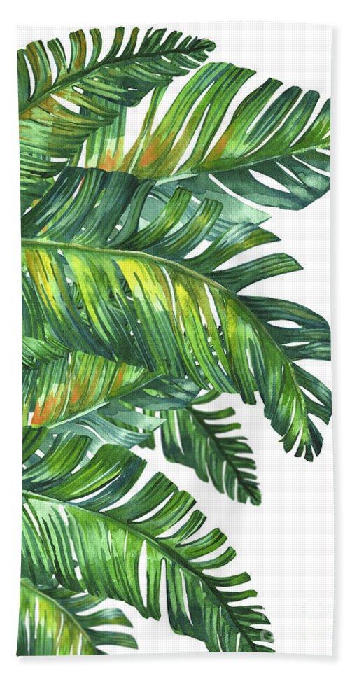 Summer Bath Sheet featuring the digital art Green Tropic by Mark Ashkenazi