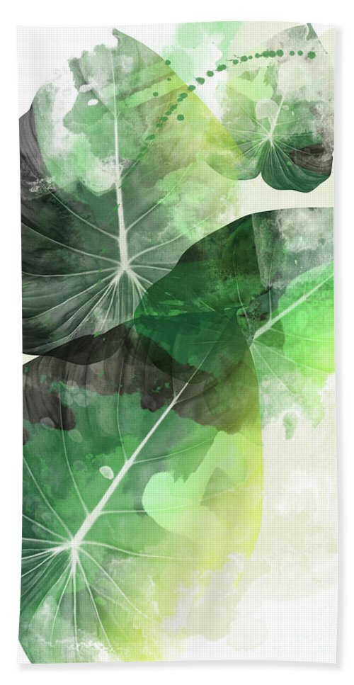 Summer Hand Towel featuring the painting Green Tropical by Mark Ashkenazi