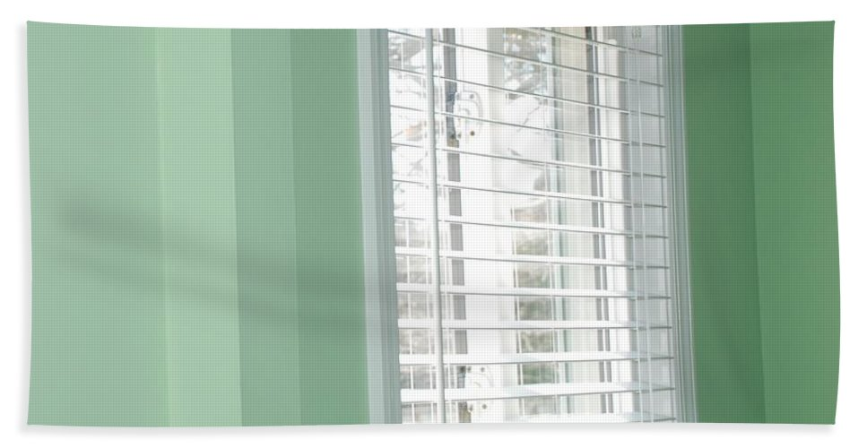 Architecture Hand Towel featuring the photograph Green Wall White Window by Rob Hans