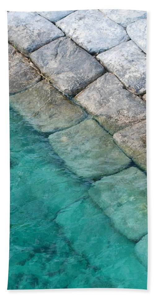 Water Blocks Bricks Hand Towel featuring the photograph Green Water Blocks by Rob Hans