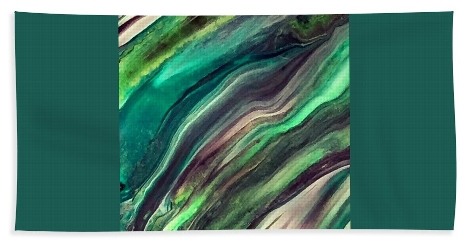 Abstract Art Hand Towel featuring the painting Green Waves by Dawn Sawyers