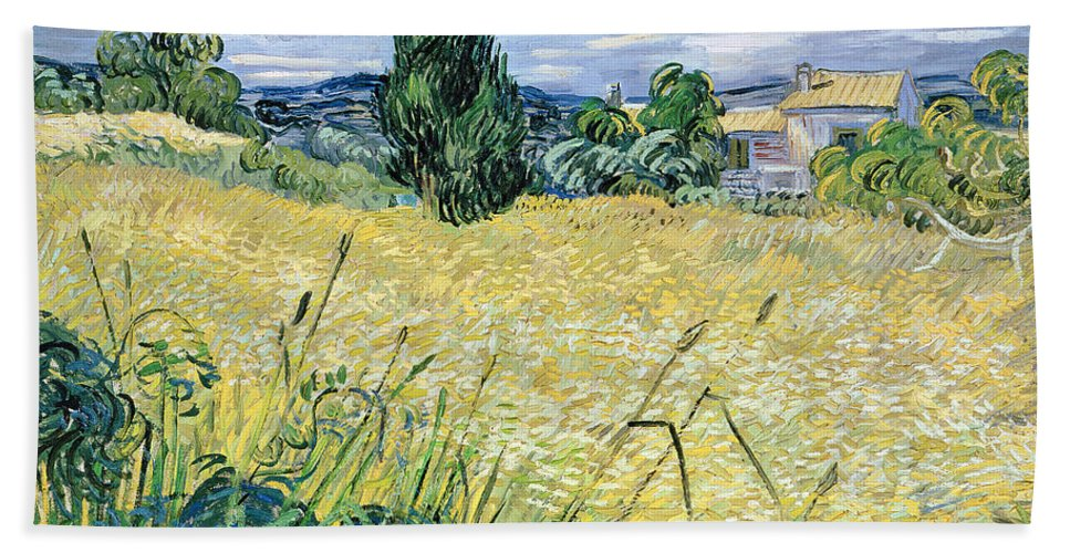 Vincent Van Gogh Hand Towel featuring the painting Green Wheatfield With Cypress by Vincent van Gogh