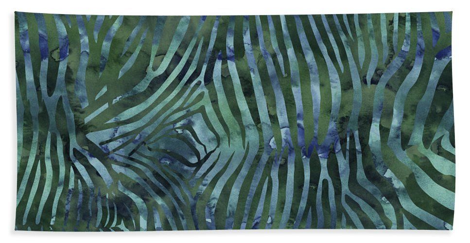 Painting Hand Towel featuring the painting Green Zebra Print by Aloke Creative Store