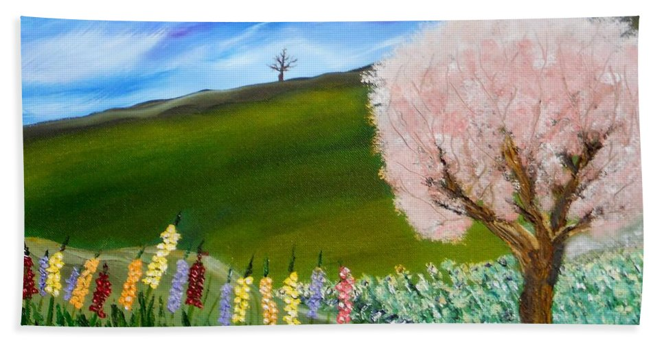 Landscape Bath Sheet featuring the painting Greener Pastures by David King Johnson