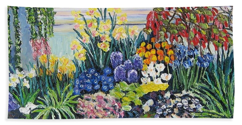 Flowers Bath Towel featuring the painting Greenhouse Flowers With Blue And Red by Richard Nowak